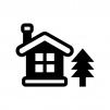 ツリーと雪が積もった家の白黒シルエットイラスト