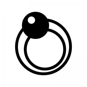 パールの指輪の白黒シルエットイラスト