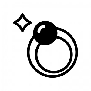 パールの指輪の白黒シルエットイラスト02