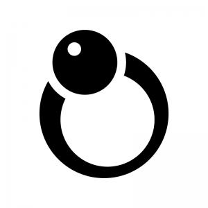 パールの指輪の白黒シルエットイラスト03