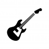 エレキギターの白黒シルエットイラスト03