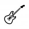 エレキギターの白黒シルエットイラスト04
