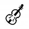 バイオリンの白黒シルエットイラスト