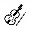 バイオリンと弓の白黒シルエットイラスト