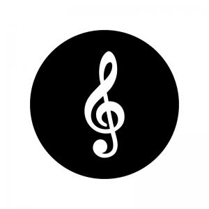 ト音記号の白黒シルエットイラスト02