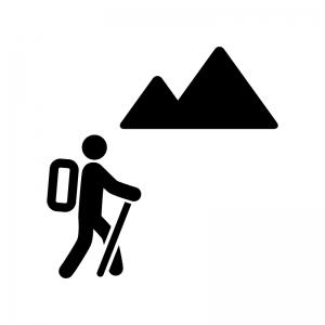 登山者の白黒シルエットイラスト02