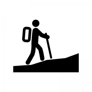 登山者の白黒シルエットイラスト03