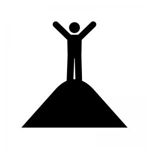 登頂の白黒シルエットイラスト