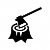斧と切り株の白黒シルエットイラスト