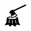斧と切り株の白黒シルエットイラスト02