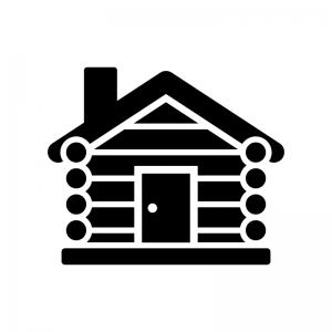 ログハウスの白黒シルエットイラスト