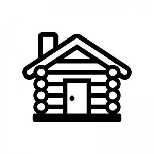 ログハウスの白黒シルエットイラスト03