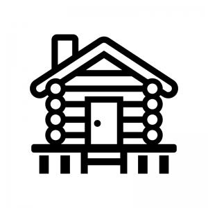 ログハウスの白黒シルエットイラスト04