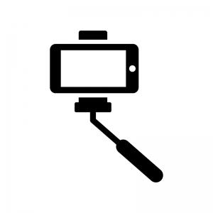 自撮り棒で撮影の白黒シルエットイラスト