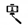 自撮り棒で撮影の白黒シルエットイラスト02