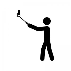 自撮り棒で撮影する人の白黒シルエットイラスト