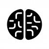 上から見た脳の白黒シルエットイラスト