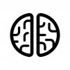上から見た脳の白黒シルエットイラスト02