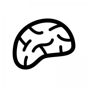 横から見た脳の白黒シルエットイラスト02