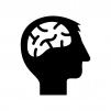 頭と脳の白黒シルエットイラスト