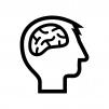 頭と脳の白黒シルエットイラスト02
