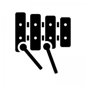 木琴・鉄琴の白黒シルエットイラスト