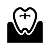 歯と歯茎の白黒シルエットイラスト