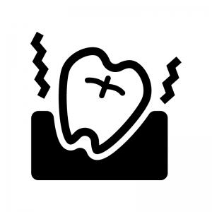 歯の痛みの白黒シルエットイラスト