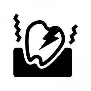 虫歯の痛みの白黒シルエットイラスト