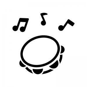 タンバリンと音符の白黒シルエットイラスト