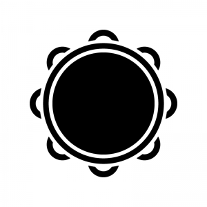 タンバリンの白黒シルエットイラスト02
