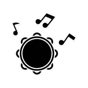 タンバリンと音符の白黒シルエットイラスト02