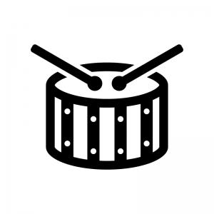 小太鼓の白黒シルエットイラスト