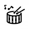 小太鼓と音符の白黒シルエットイラスト