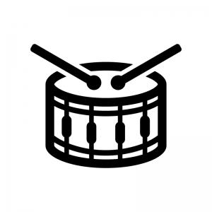 小太鼓の白黒シルエットイラスト02
