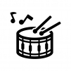 小太鼓と音符の白黒シルエットイラスト02