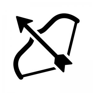 弓矢の白黒シルエットイラスト02