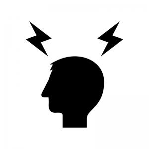 頭痛の白黒シルエットイラスト02