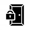 鍵のかかったドアの白黒シルエットイラスト02