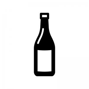 一升瓶の白黒シルエットイラスト