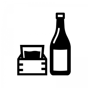 一升瓶と升の白黒シルエットイラスト
