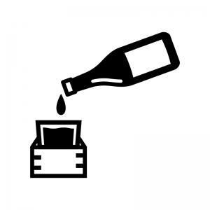 一升瓶と升の白黒シルエットイラスト02