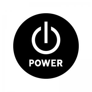 電源ボタンの白黒シルエットイラスト