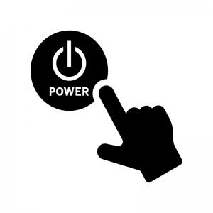 電源ボタンを押す白黒シルエットイラスト