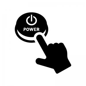 電源ボタンを押す白黒シルエットイラスト02