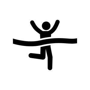 マラソンでゴールする人の白黒シルエットイラスト