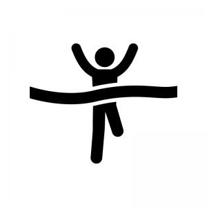 マラソンでゴールする人の白黒シルエットイラスト02