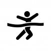 マラソンでゴールする人の白黒シルエットイラスト03