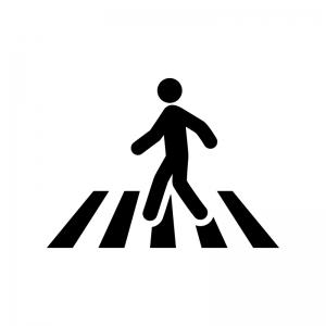 横断歩道を渡る人の白黒シルエットイラスト