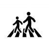 横断歩道を渡る人の白黒シルエットイラスト02